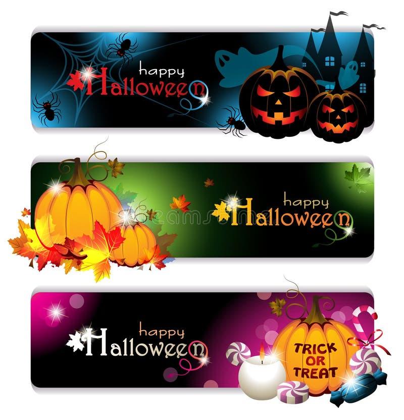 Utsmyckade Halloween baner stock illustrationer