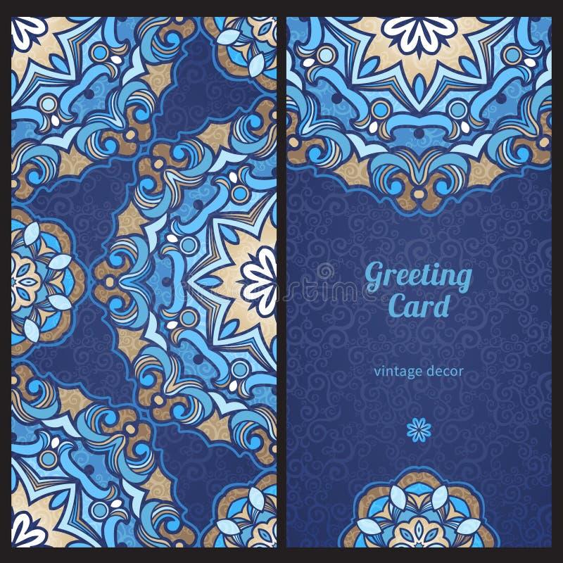 Utsmyckade kort för tappning i östlig stil royaltyfri illustrationer
