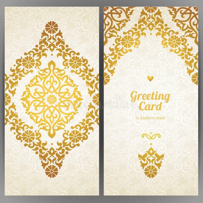 Utsmyckade kort för tappning i orientalisk stil royaltyfri illustrationer