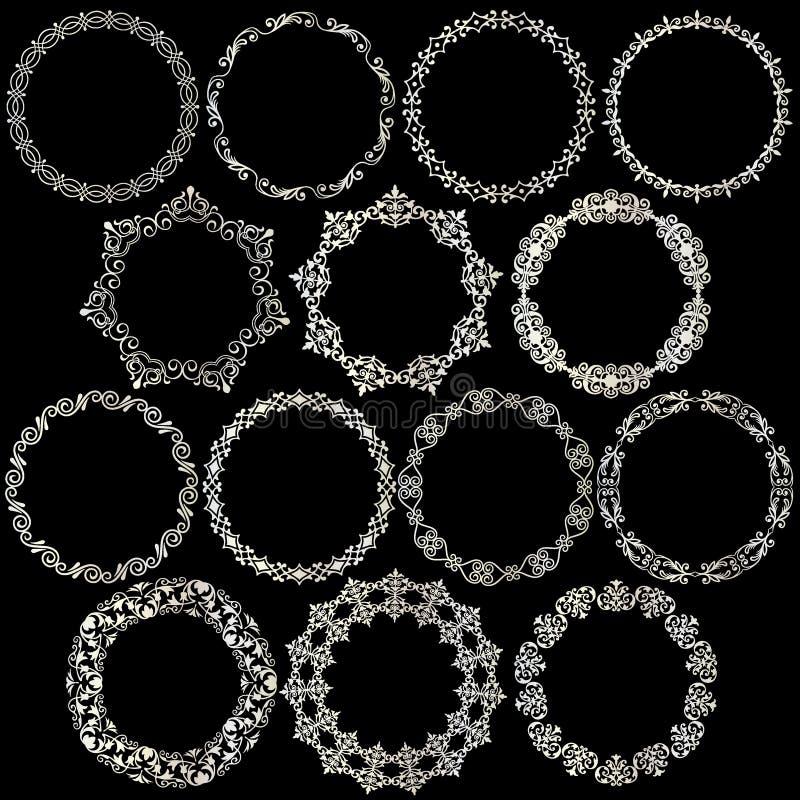 Utsmyckade metalliska silvercirkelramar vektor illustrationer