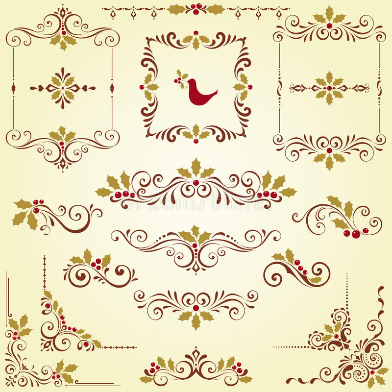 Utsmyckade motiv för jul royaltyfri illustrationer