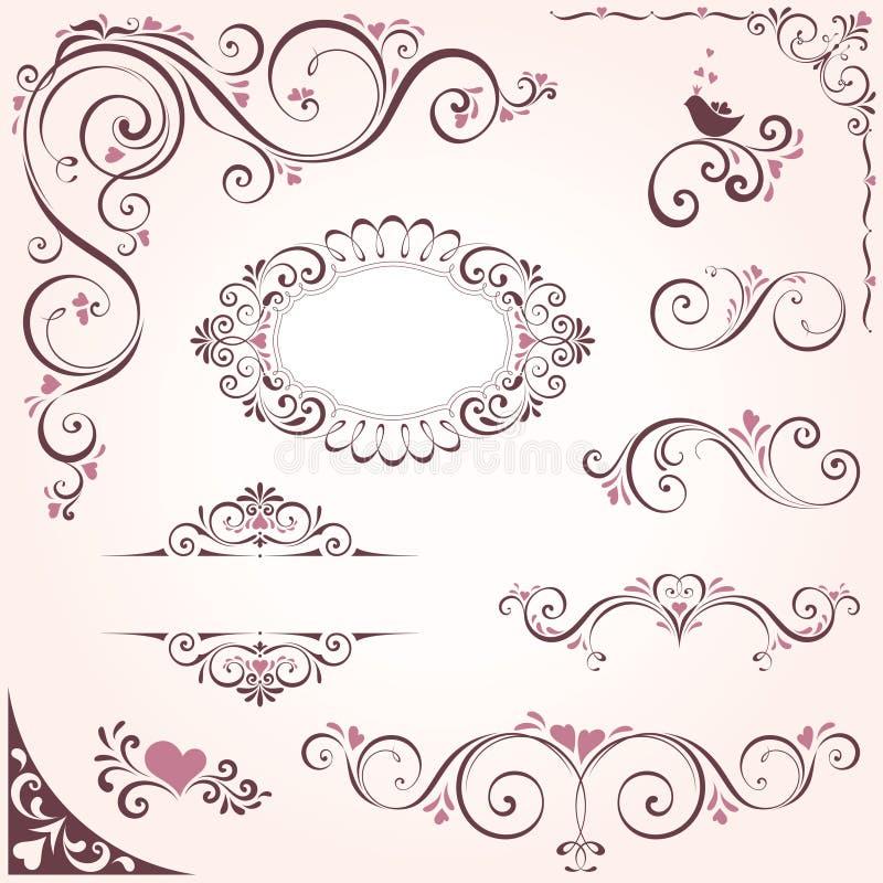 Utsmyckade motiv för valentin royaltyfri illustrationer