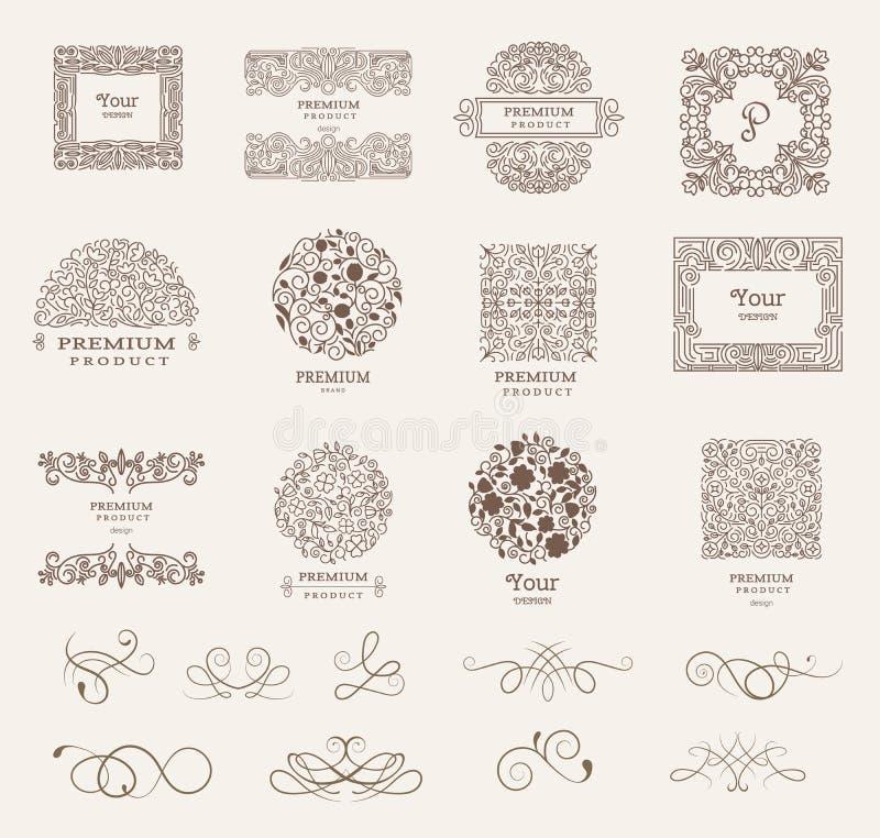 Utsmyckade ramar och samling av designbeståndsdelar, etiketter, symbol för att förpacka, design av lyxiga produkter vektor royaltyfri illustrationer
