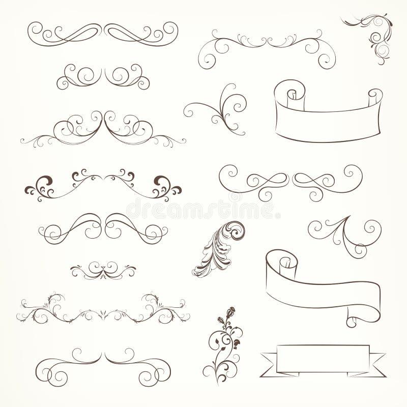 Utsmyckade ramar och snirkelbeståndsdelar stock illustrationer
