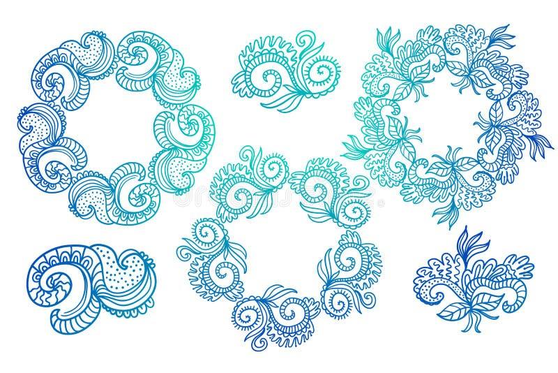 Utsmyckade ramar och snirkelbeståndsdelar royaltyfri illustrationer