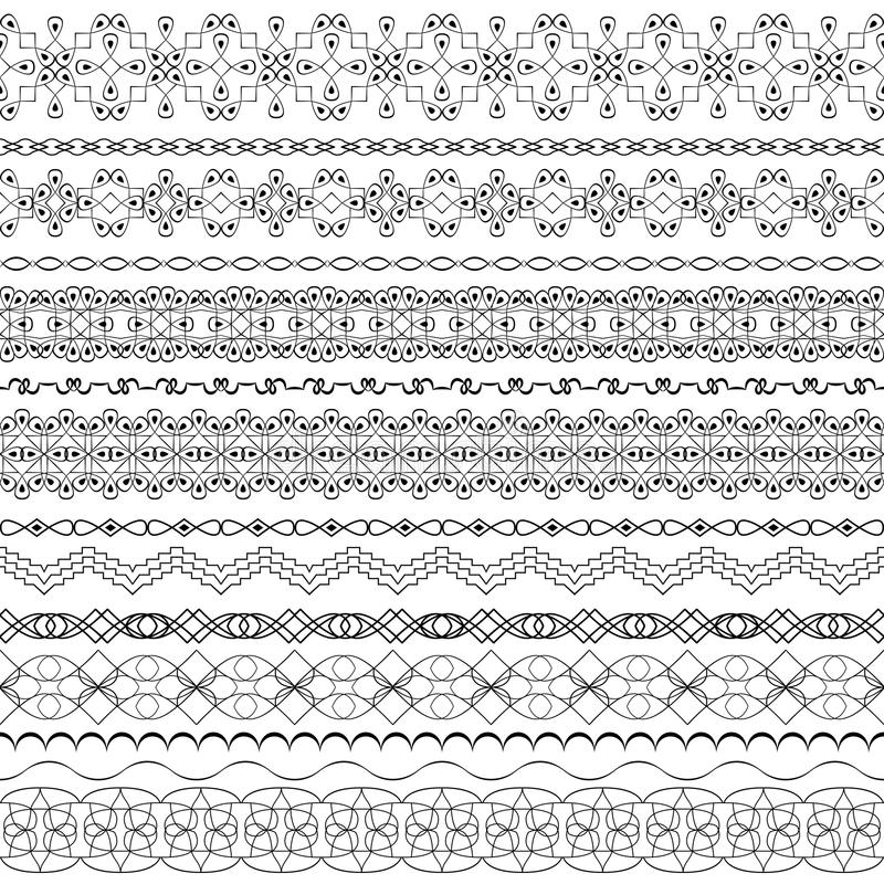 Utsmyckade sömlösa gränser för vektor i östlig stil Linje konsttappning vektor illustrationer
