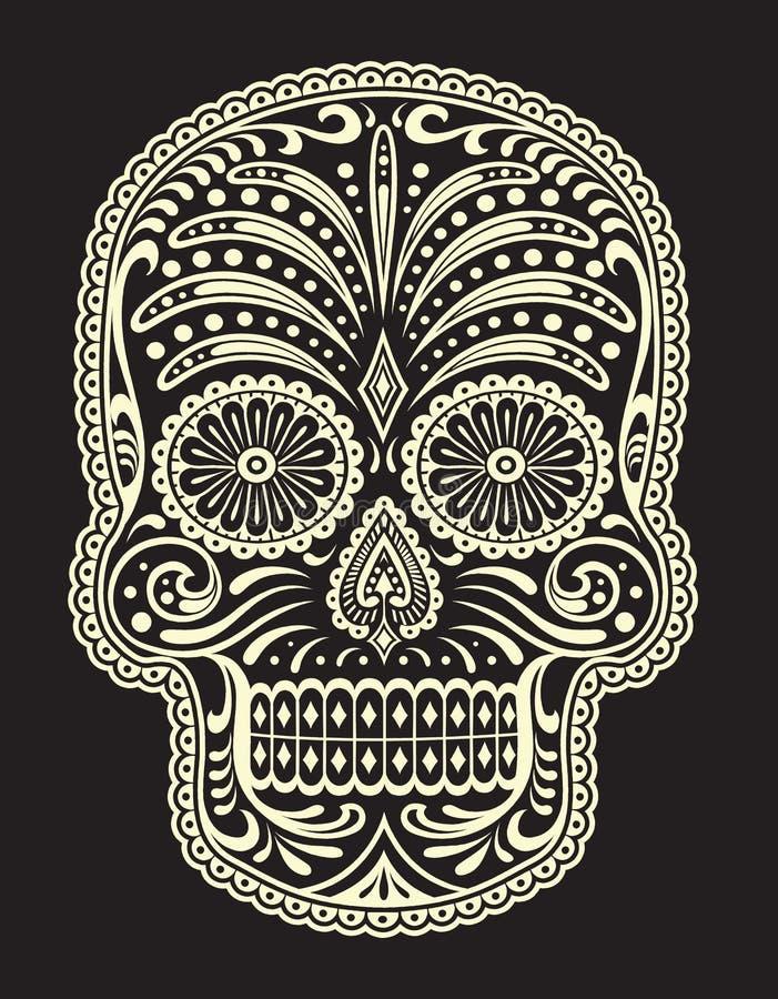 Utsmyckade Sugar Skull stock illustrationer