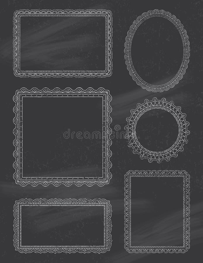 Utsmyckade svart tavlaramar stock illustrationer