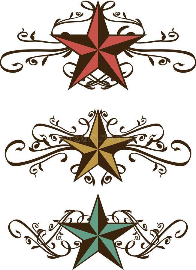 utsmyckade västra setstjärnor royaltyfri illustrationer