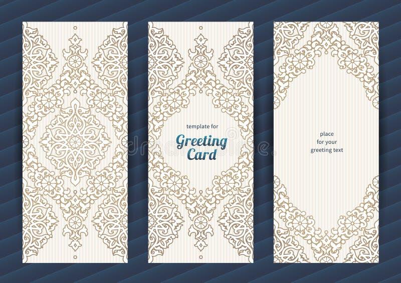Utsmyckade vektorkort för tappning i östlig stil royaltyfri illustrationer