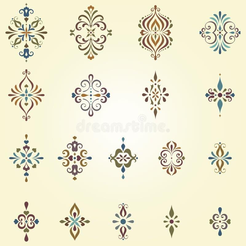 Utsmyckade virvelmotiv royaltyfri illustrationer