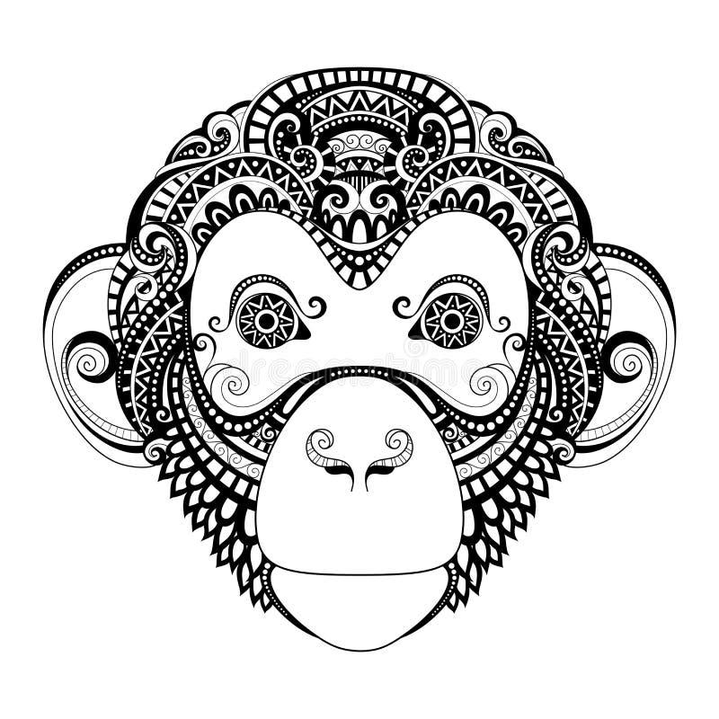 Utsmyckat apahuvud för vektor vektor illustrationer