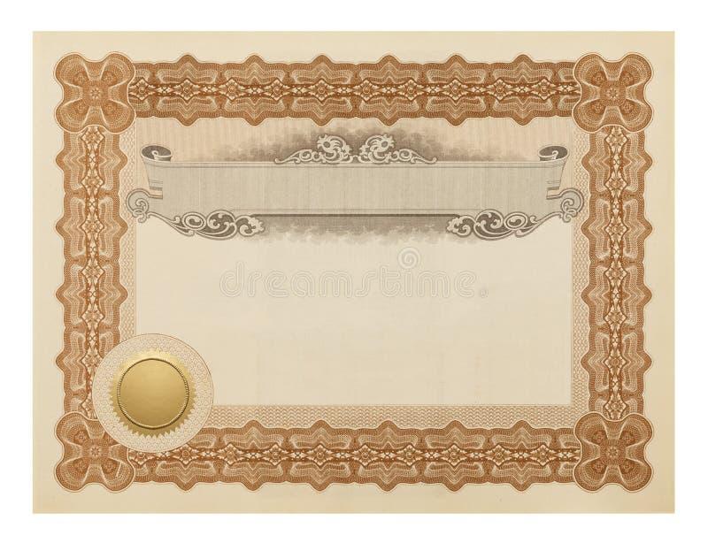 Utsmyckat certifikat arkivbilder