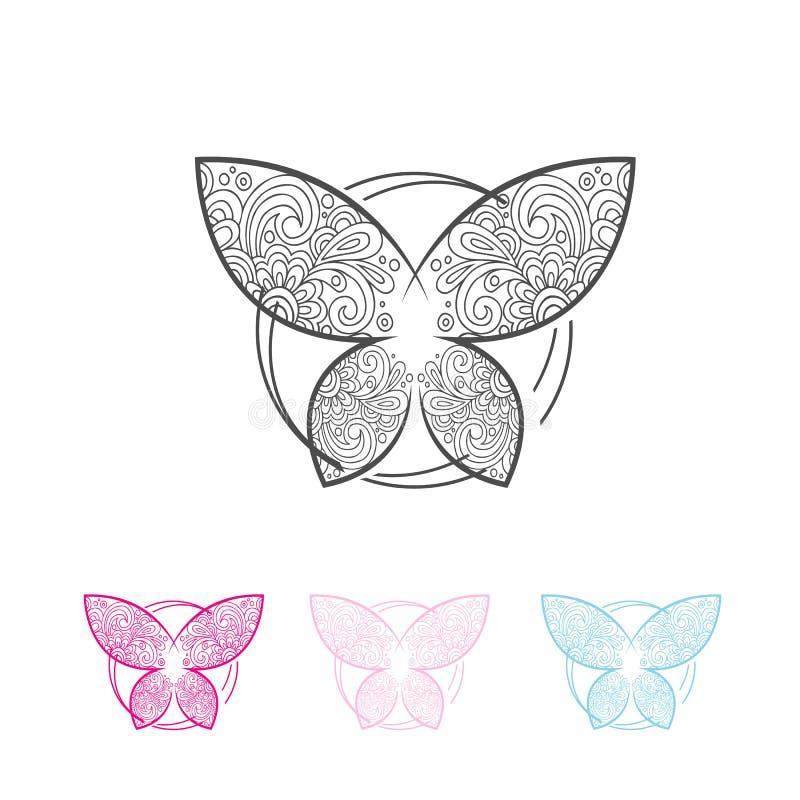 Utsmyckat dekorativt symbol för abstrakt fjäril vektor illustrationer
