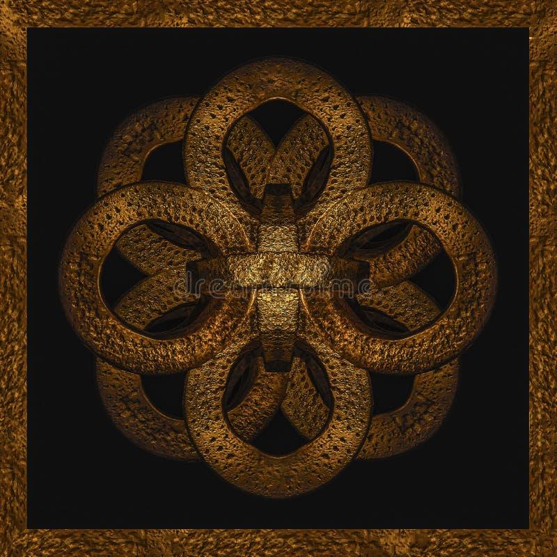 Utsmyckat mystiskt symbolkonstverk för guld- järn royaltyfri illustrationer