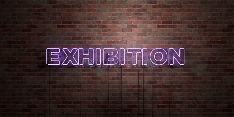 UTSTÄLLNING - fluorescerande tecken för neonrör på murverk - främre sikt - 3D framförd fri materielbild för royalty vektor illustrationer