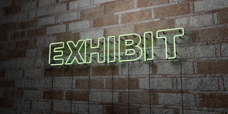 UTSTÄLLNING - Glödande neontecken på stenhuggeriarbeteväggen - 3D framförde den fria materielillustrationen för royalty royaltyfri illustrationer