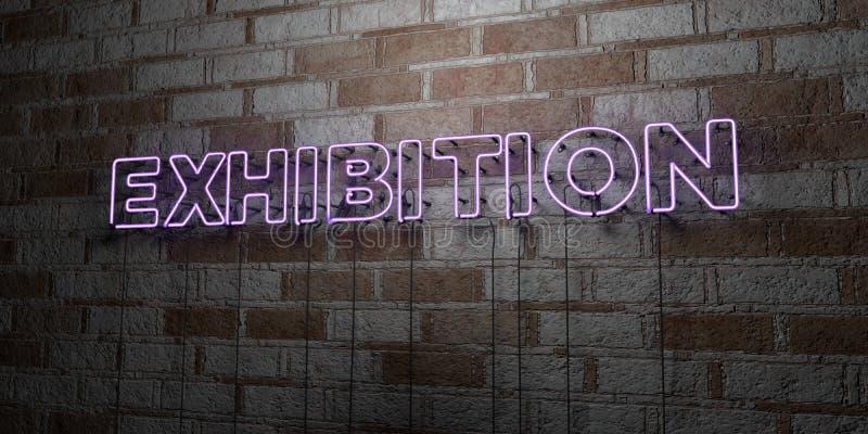 UTSTÄLLNING - Glödande neontecken på stenhuggeriarbeteväggen - 3D framförde den fria materielillustrationen för royalty stock illustrationer