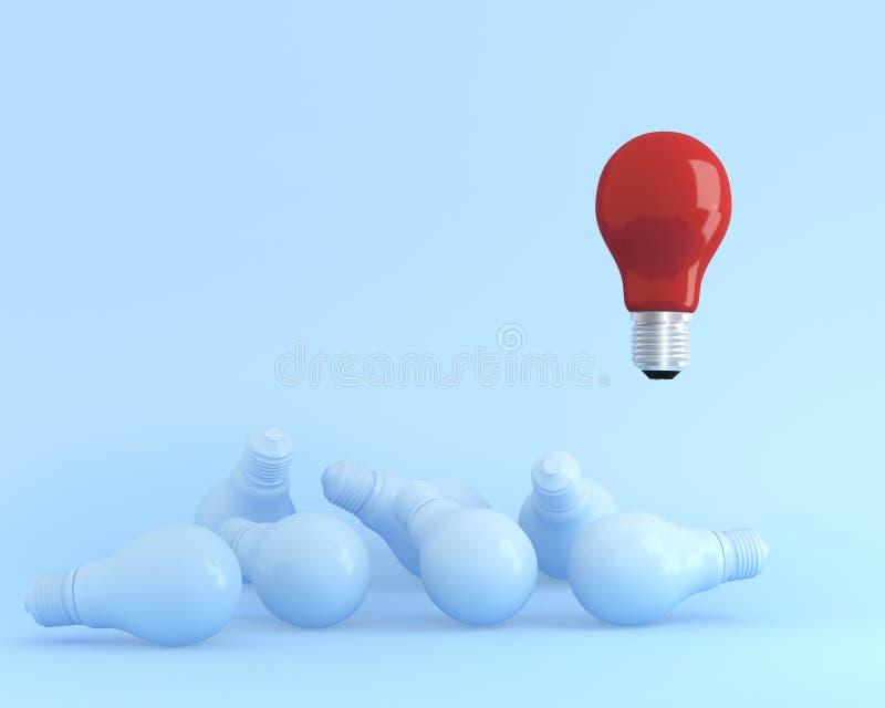 Utstående ljusa kulor som är röda i luft en olik idé från andra på blå pastellfärgad bakgrund arkivfoton