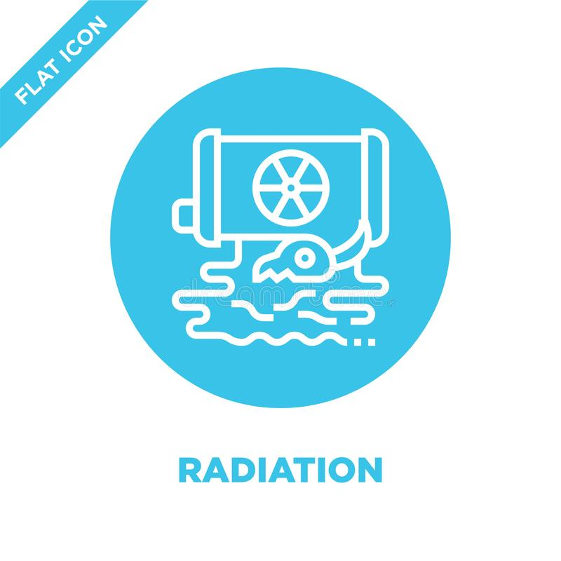 utstrålningssymbolsvektor från global uppvärmningsamling Tunn linje illustration för vektor för utstrålningsöversiktssymbol Linjä royaltyfri illustrationer