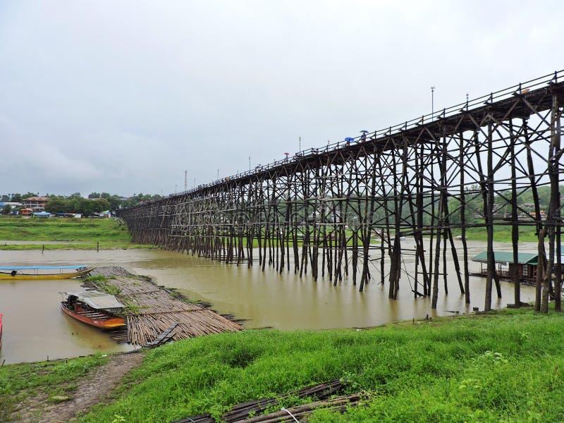 Uttamanusorn Bridge or commonly known as Mon Bridge. longest wooden bridge  in Tambon Nong Lu, Sangkhla Buri District, northwest o. Landscape vineyard royalty free stock image