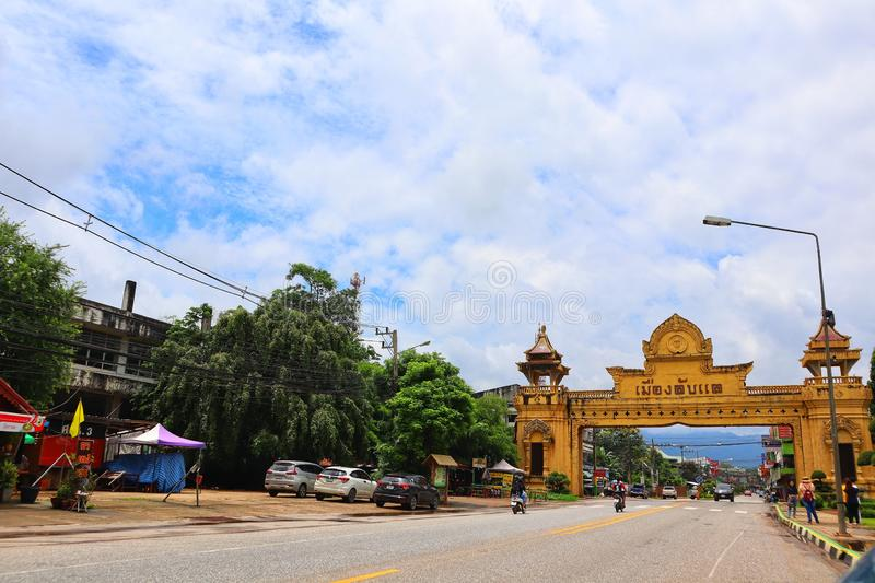 Uttaradit, Thailand, 1 August 2019, the entrance to Laplae city  Thailand travel concept royalty free stock image