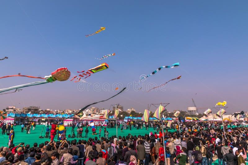 Uttarayanfestival in Gujarat, India stock foto's