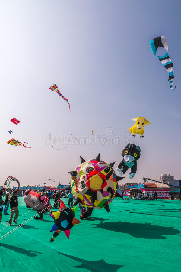 Uttarayanfestival in Gujarat, India royalty-vrije stock foto's