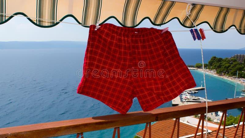 Uttorkning av mäns swimwear på balkongen 2 fotografering för bildbyråer