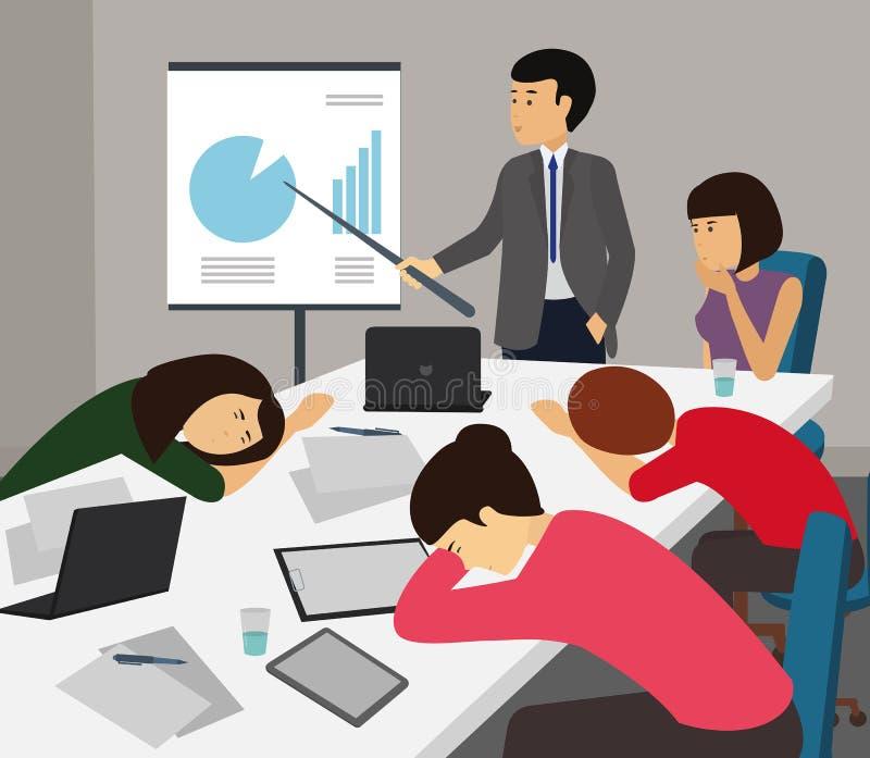 Uttråkat och trött affärslag som i regeringsställning sover på presentationen stock illustrationer