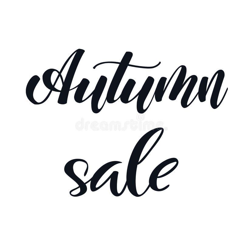 Uttryck för Autumn Sale handbokstäver svart white vektor illustrationer