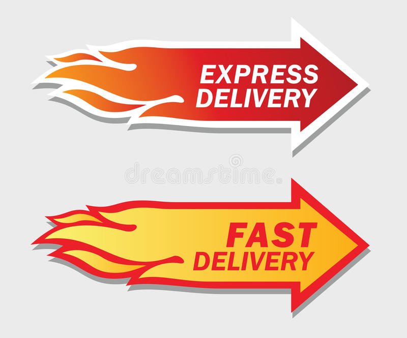 Uttryck och fasta leveranssymboler. royaltyfri illustrationer