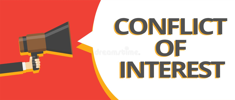 Uttrycka affärsidéen för handstiltextintressekonflikten för att ogilla med någon om mål eller åtskilliga linjer textG för mål stock illustrationer