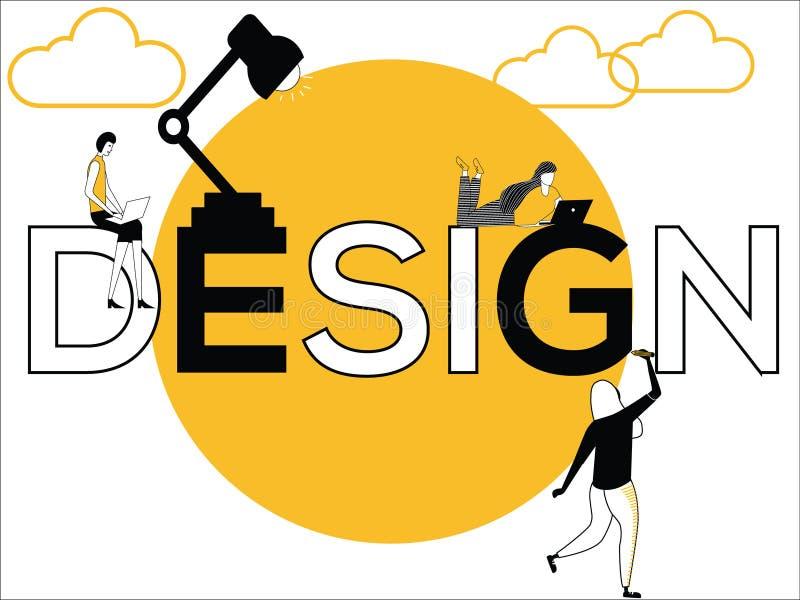 Uttrycka begreppsdesignen och folk som gör idérika aktiviteter vektor illustrationer