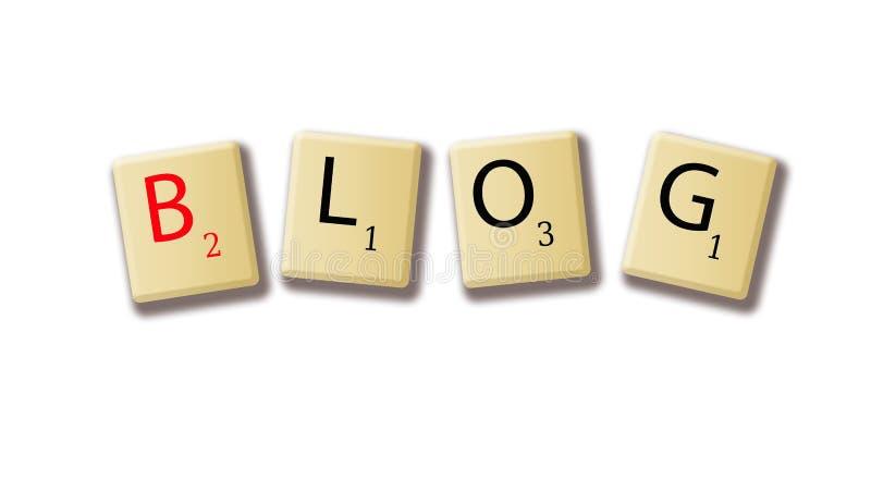 Uttrycka bloggen varje bokstav på en trätegelplattaillustration på en vit stock illustrationer