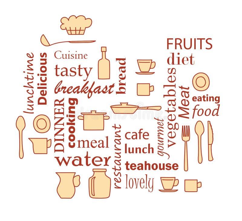 Uttrycka collage för kök och matlagning med kitchenwareobjekt royaltyfri illustrationer