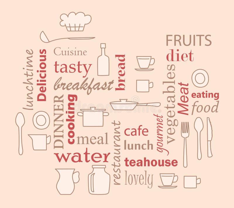 Uttrycka collage för kök och matlagning med kitchenwareobjekt stock illustrationer
