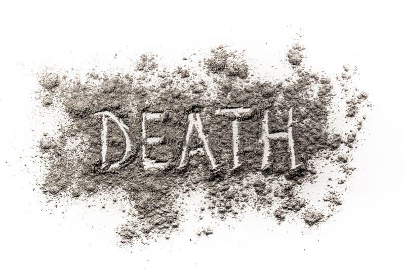 Uttrycka död som är skriftlig i damm som en metafor för kortvarighet royaltyfria foton