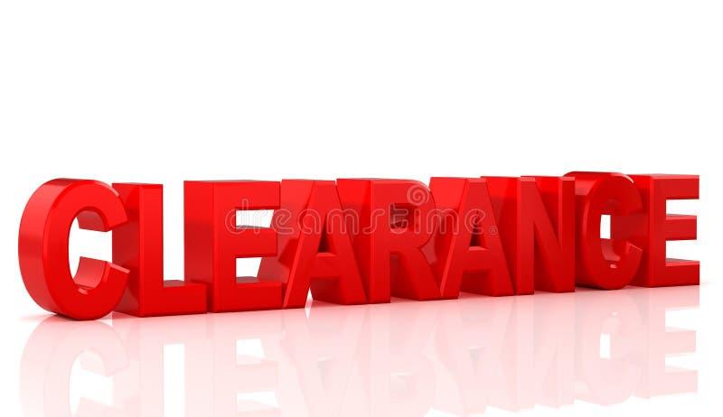 Uttrycka försäljningen och rensning på röd bakgrundsordrensning på vit bakgrund illustration 3d stock illustrationer