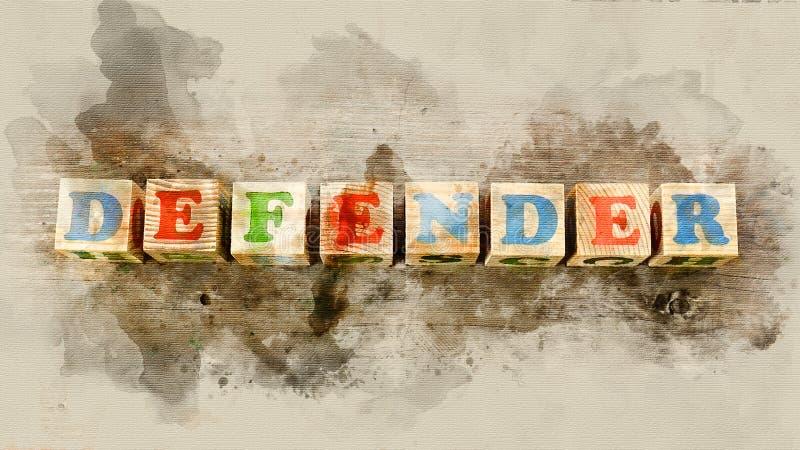 Uttrycka `-försvarare` som byggs av träkvarter royaltyfri bild