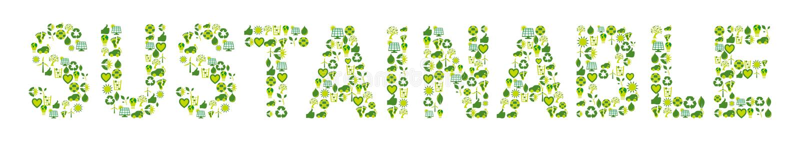 Uttrycka hållbart som fylls med ecovänskapsmatch och bio släkta symboler stock illustrationer