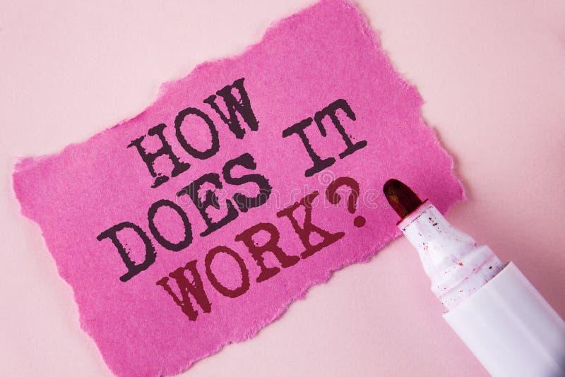 Uttrycka handstiltext hur den fungerar fråga Affärsidé för att fråga om orubbligt skriftligt för apparat- eller maskinoperation p arkivbild