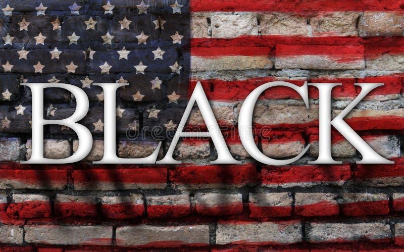 Uttrycka svart på amerikanska flaggan, sprickaväggbakgrund royaltyfri fotografi