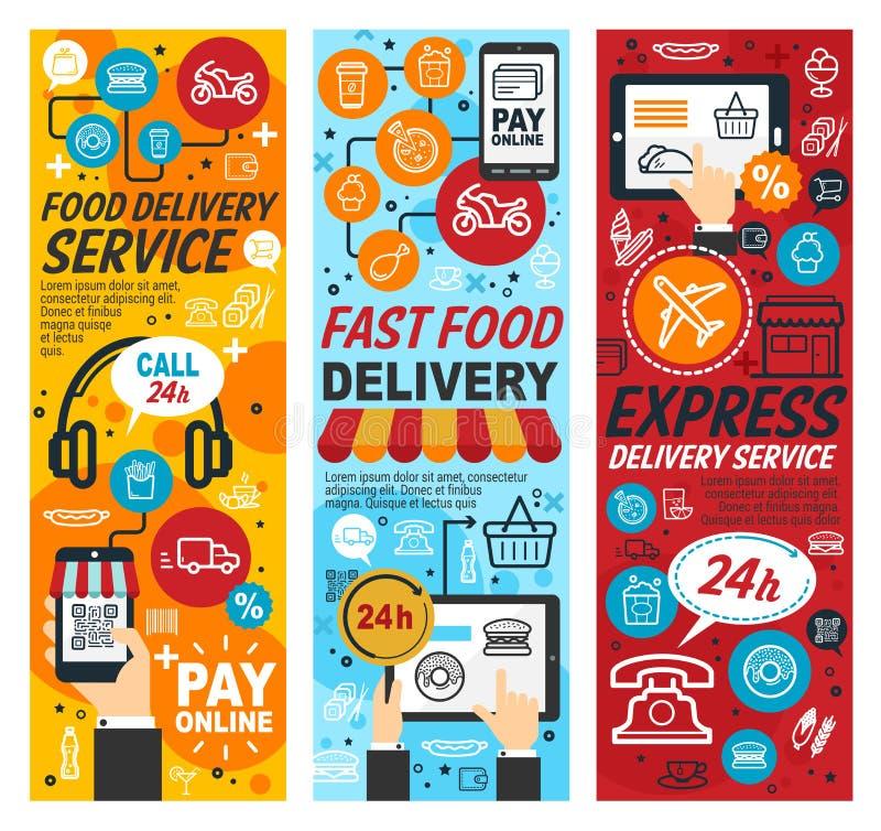 Uttrycklig hemsändning för Fastfood, vektor royaltyfri illustrationer