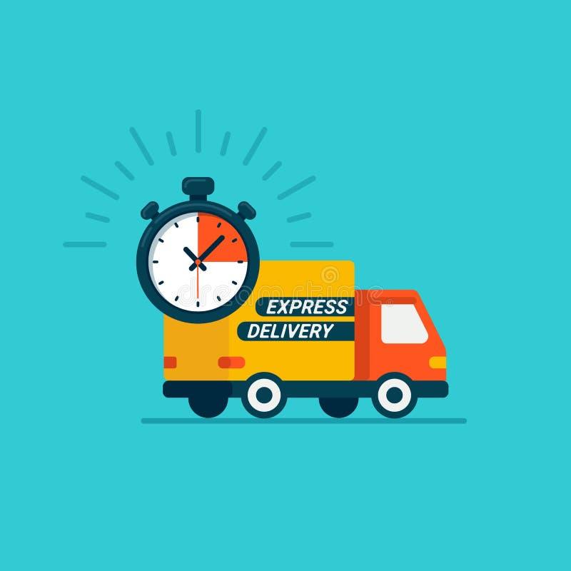 Uttrycklig hemsändning Leverans med bilen eller lastbilen Jordlotter uttrycker hemsändning Plan symbol för stildesignlastbil och vektor illustrationer