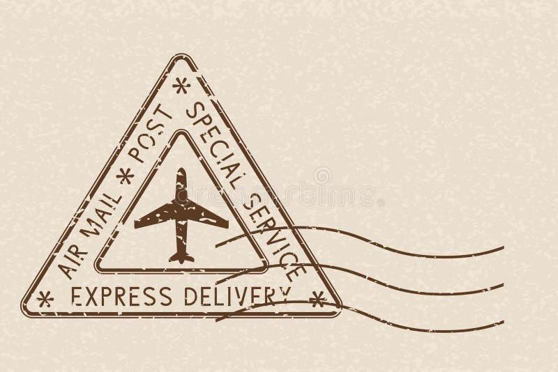 Uttrycklig leverans för flygposttriangelpoststämpel Brun poststämpel på beige bakgrund royaltyfri illustrationer