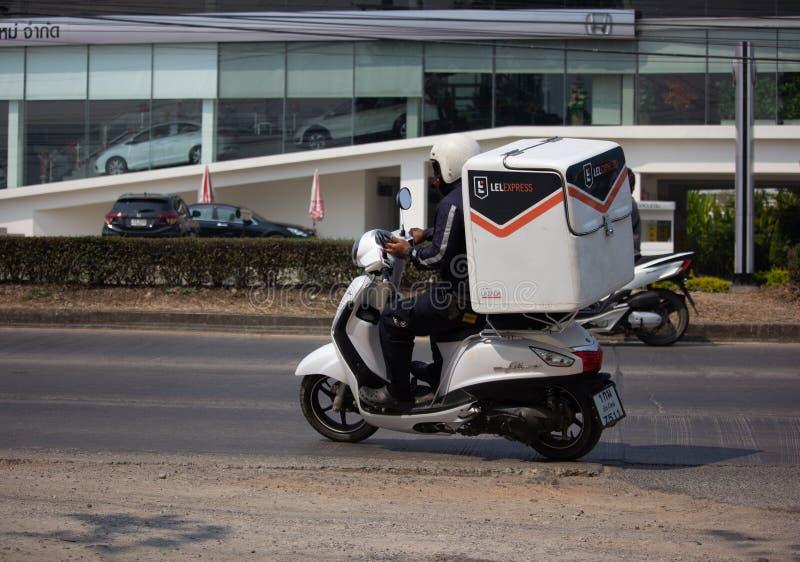 Uttryckliga Lazada och logistik Mini Container Motorcycle arkivfoton