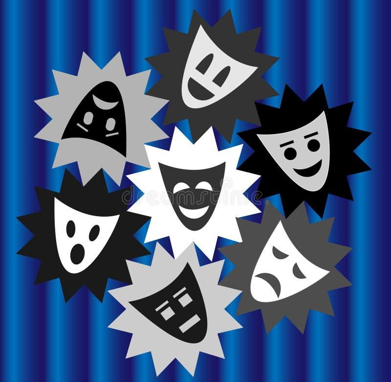 Uttrycksfolk i teatern stock illustrationer
