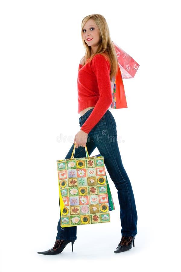 uttrycksfull shoppingkvinna arkivfoto