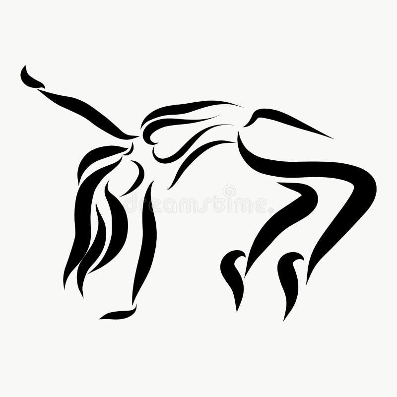 Uttrycksfull ungdomdans, flicka i rörelse royaltyfri illustrationer